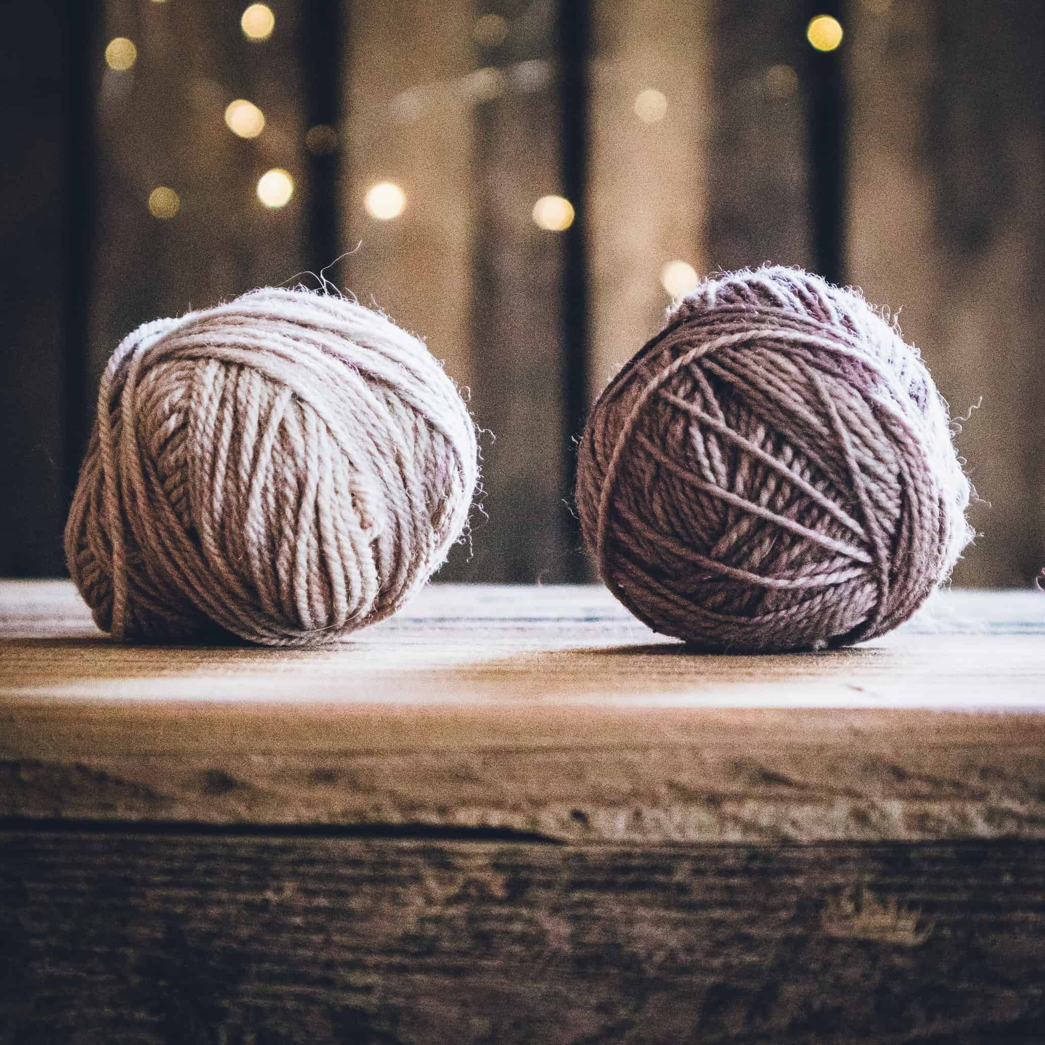 Small balls of gray yarn.