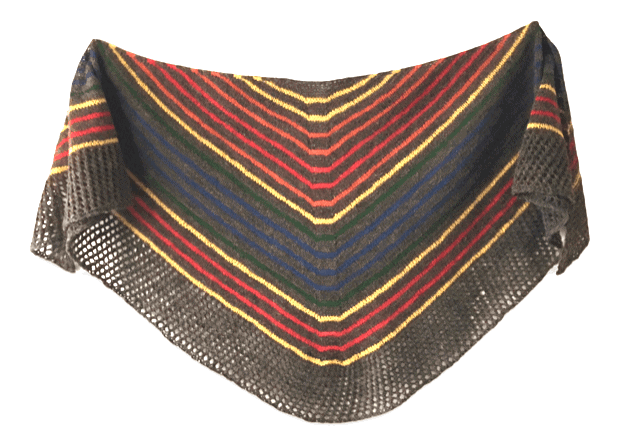 A black, yellow and red striped shawl.