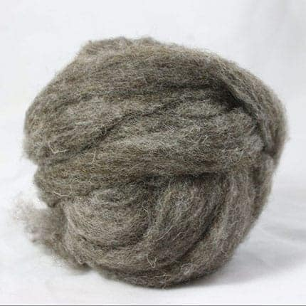 A ball of brown wool fiber.