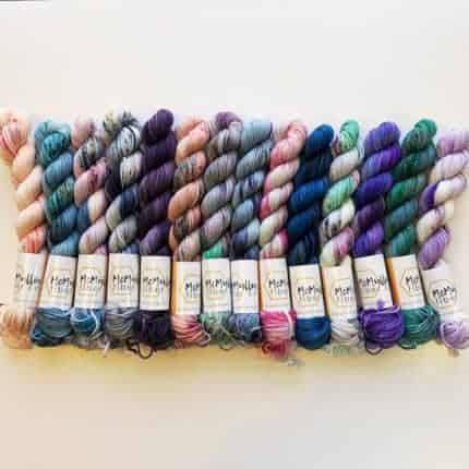 Skeins of speckled yarn.