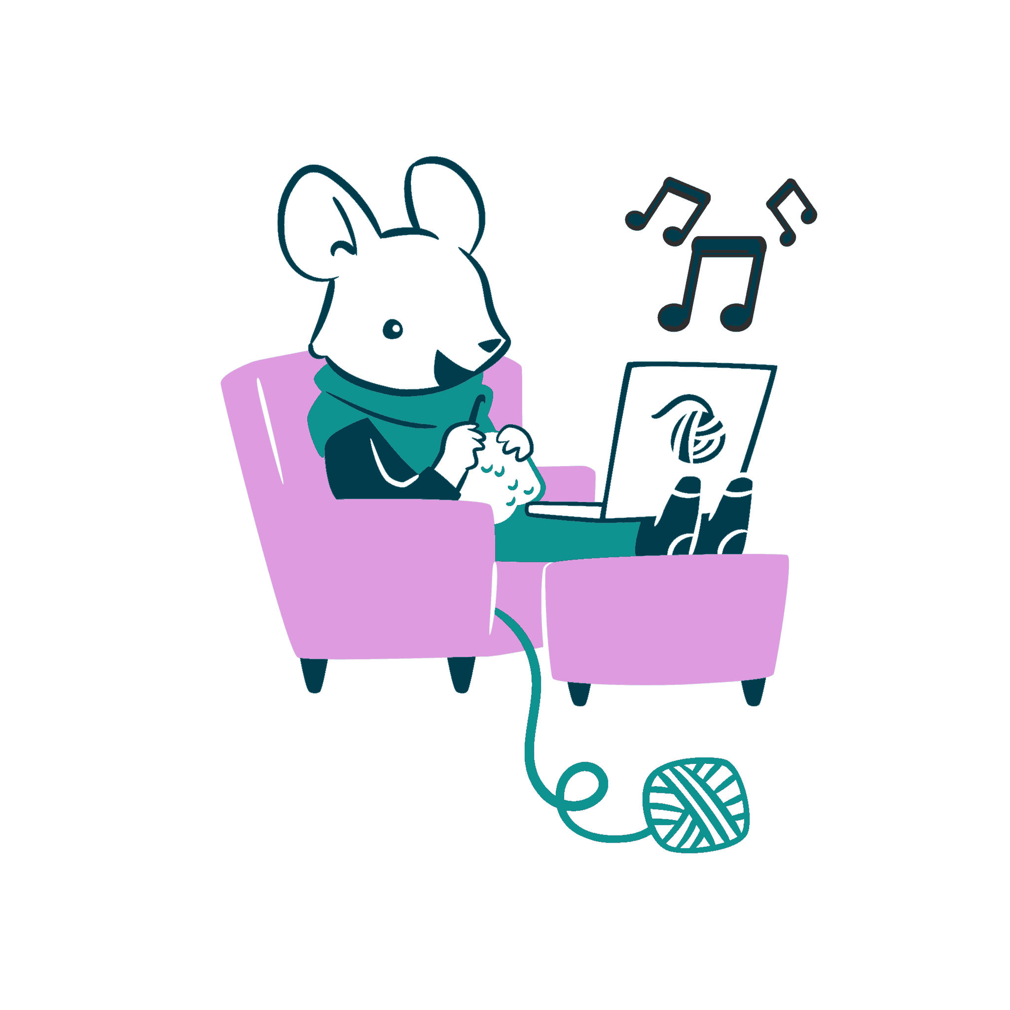A mouse sitting in a chair crocheting while using a laptop.
