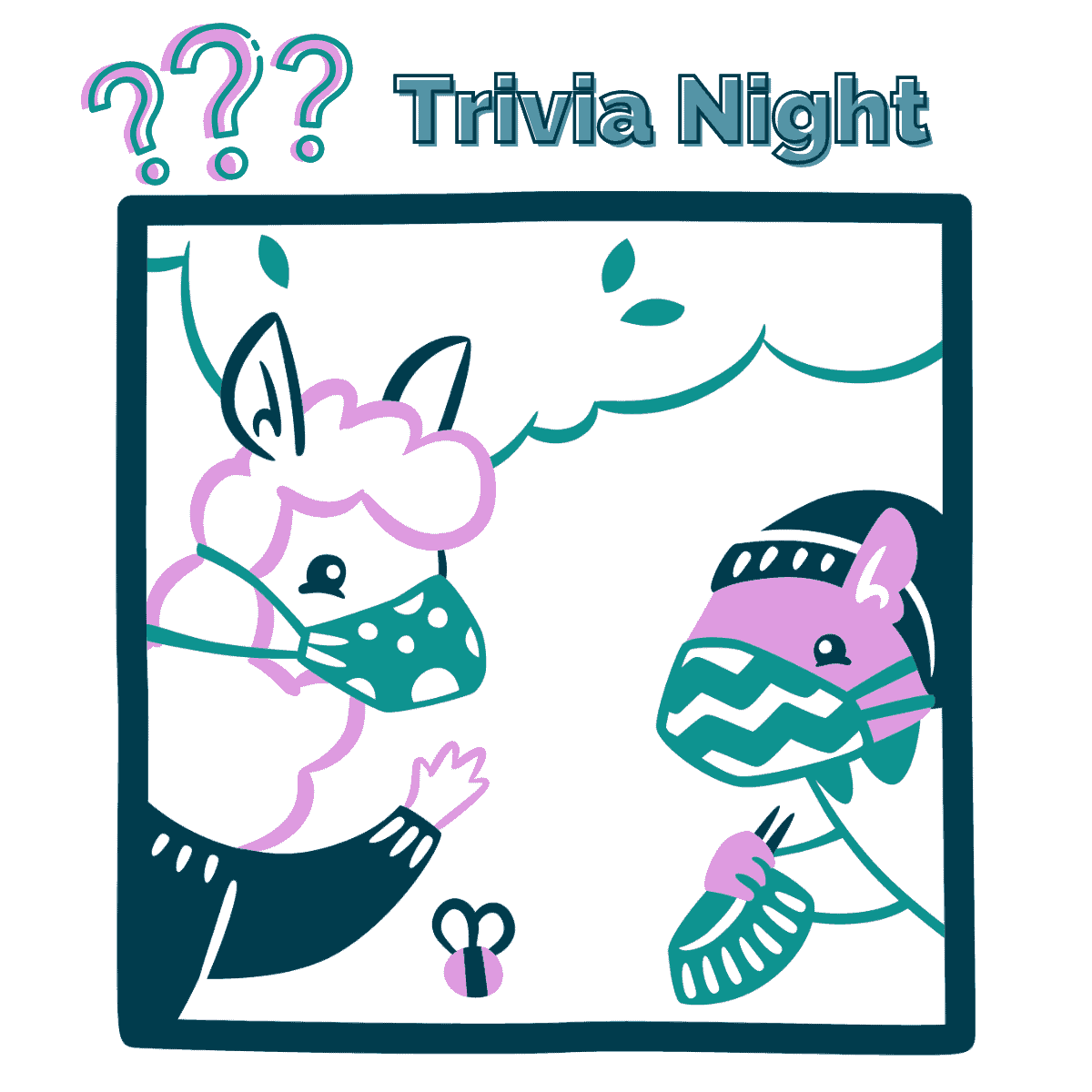 An illustration of a masked alpaca and squirrel with question marks and the words Trivia Night.