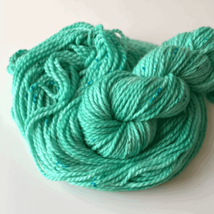 Mint green bulky yarn.