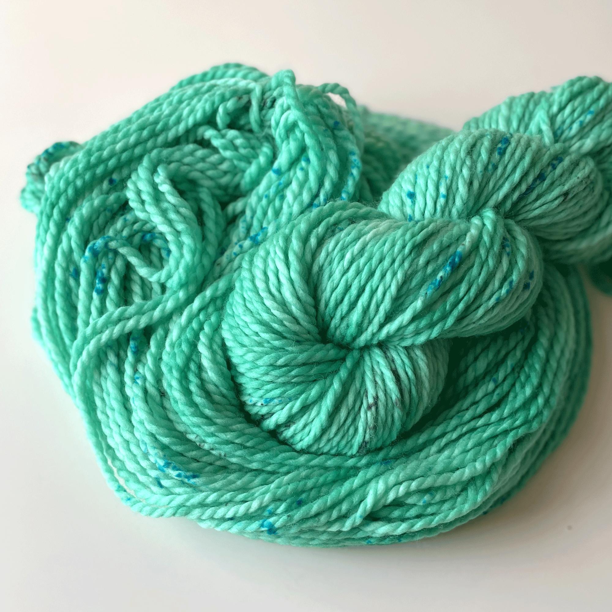Mint green bulky yarn.