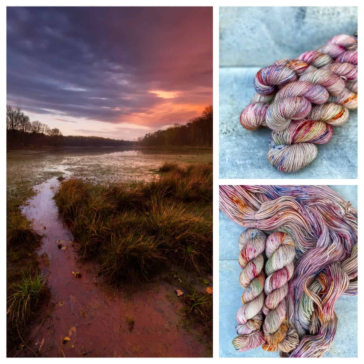 Sunset over wetlands and skeins of pink, purple, gold and green speckled yarn.