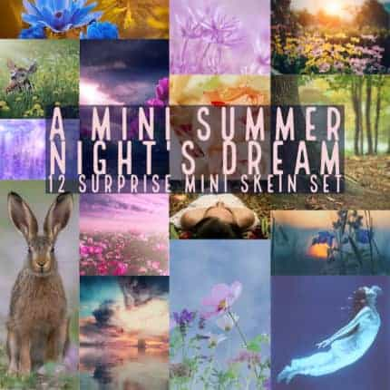 A collage of purple images and the words A MINI SUMMER NIGHT'S DREAM; 12 SURPRISE MINI SKEIN SET