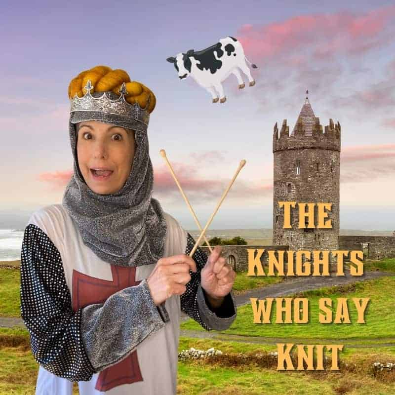 A knight holding wooden knitting needles with a skein of yarn on her head.