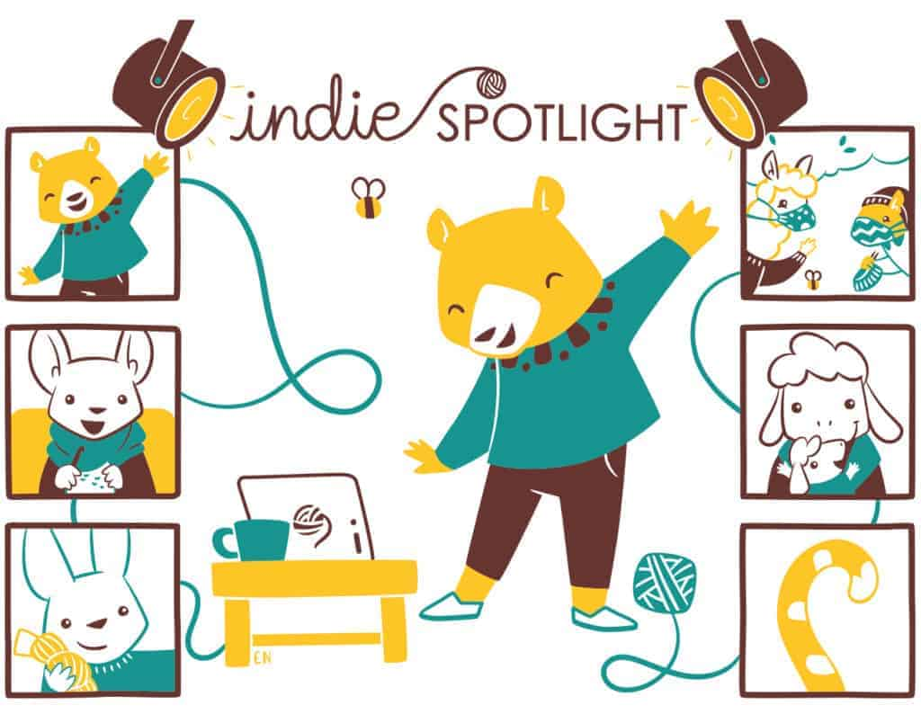 An illustration of a bear wearing a teal sweater under spotlights.