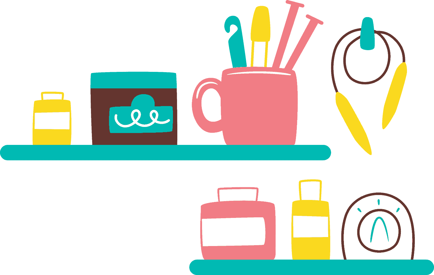 An illustration of shelves of craft tools.