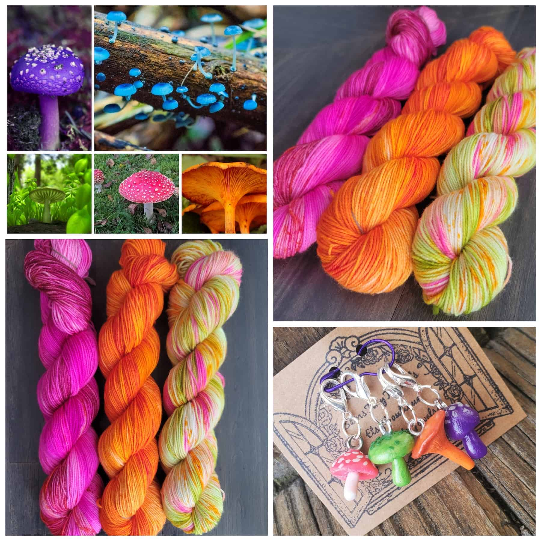 A collage of fluorescent pink and orange yarn and mushrooms.