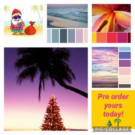 A collage with Santa on a beach and a Christmas tree under a palm tree.