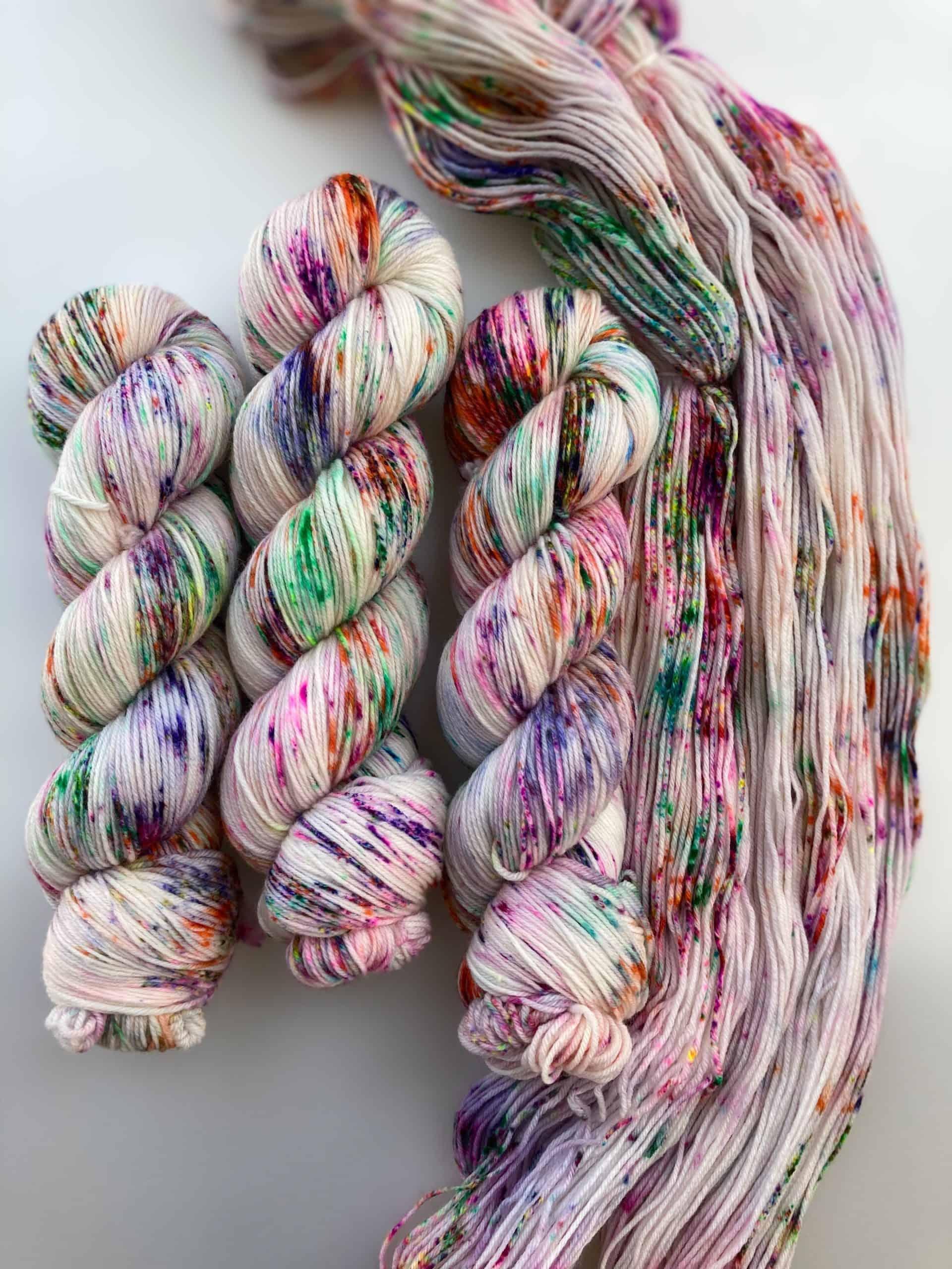 Rainbow speckled yarn.