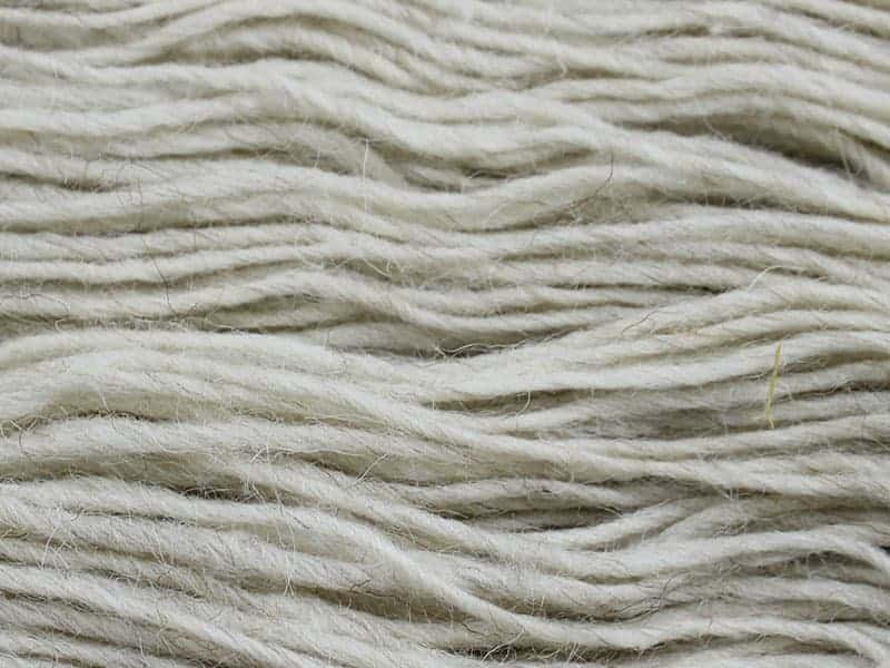 Cream-colored yarn.