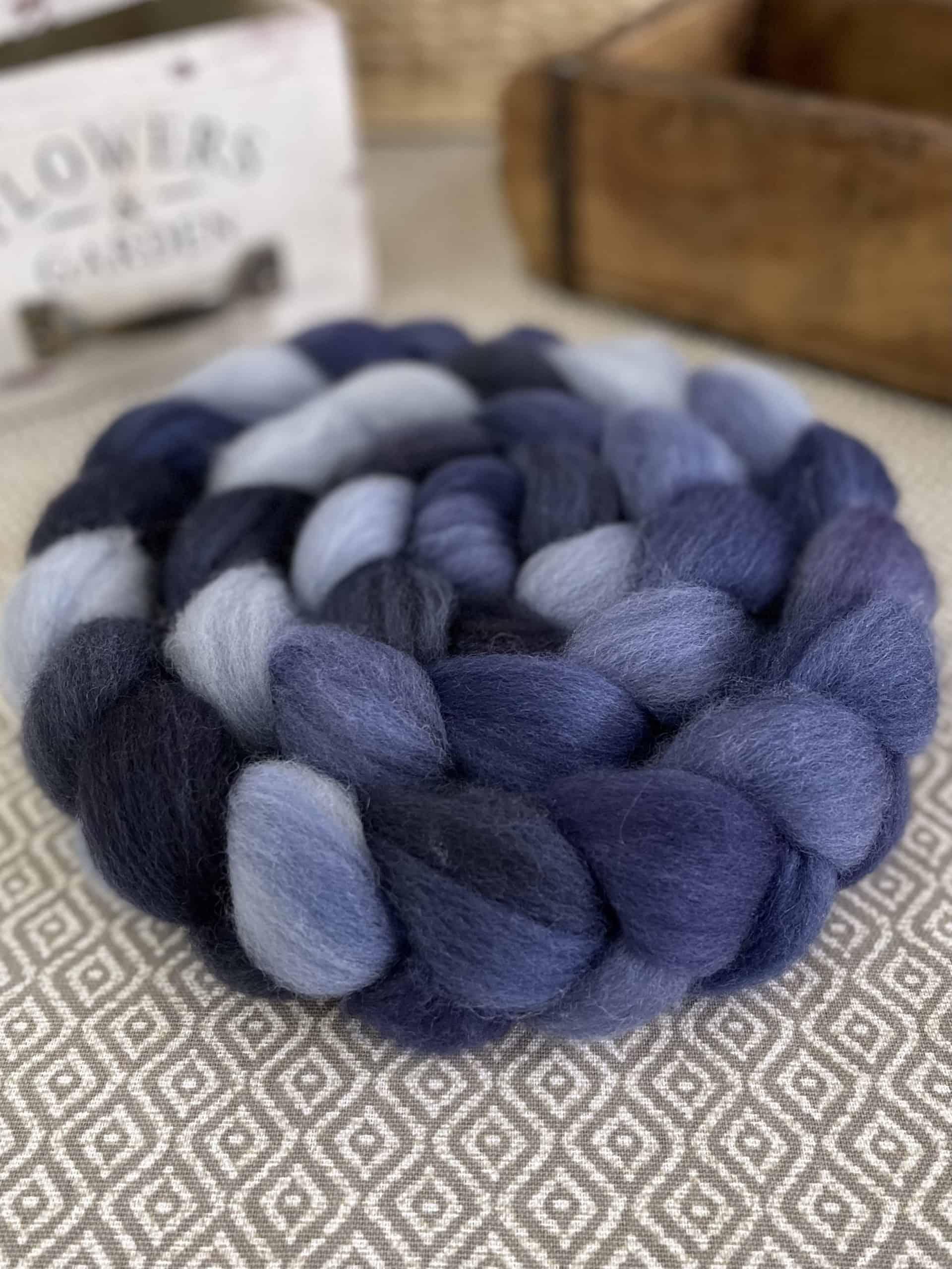 A braid of blue fiber.