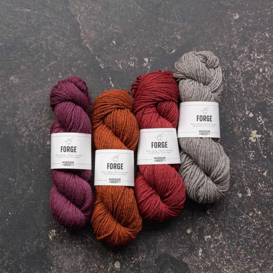 Purple, orange, red and gray yarn.