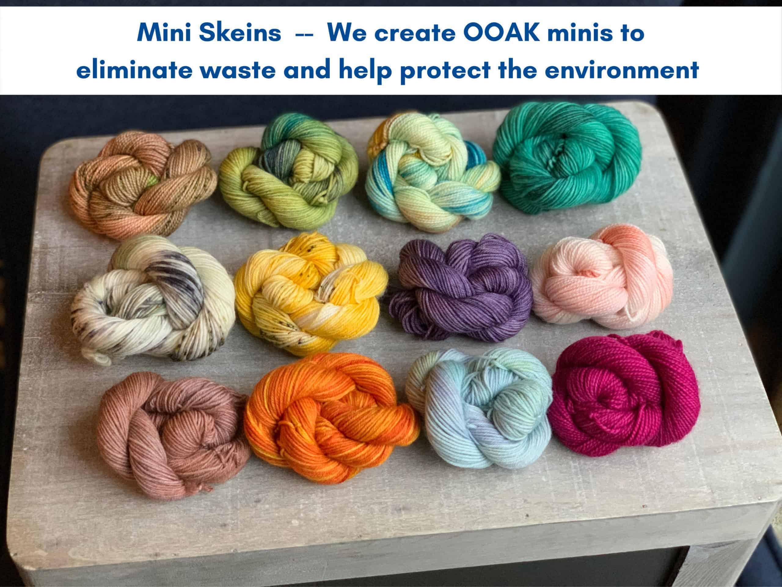 Multicolored skeins of yarn.
