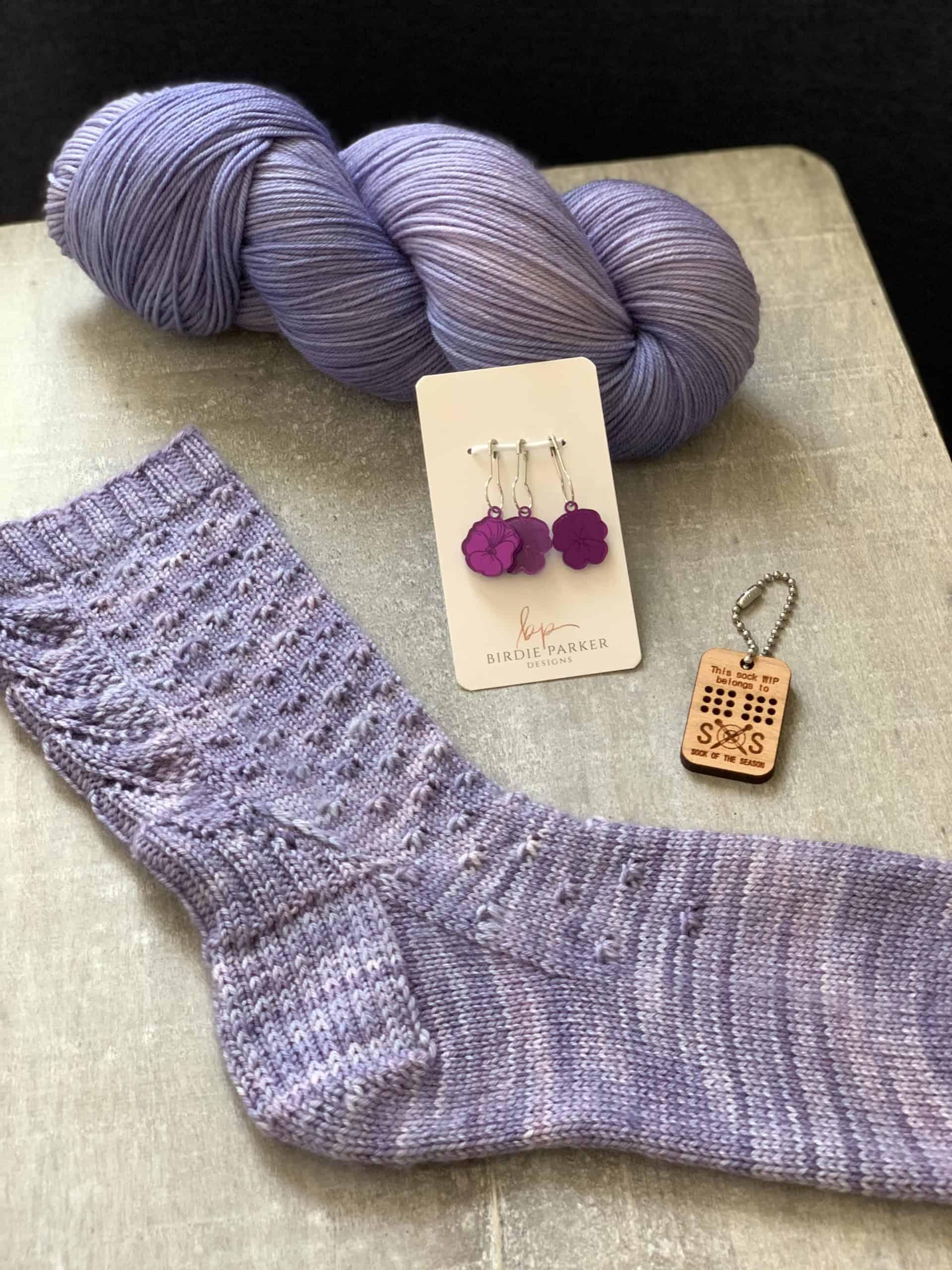 A lilac sock.