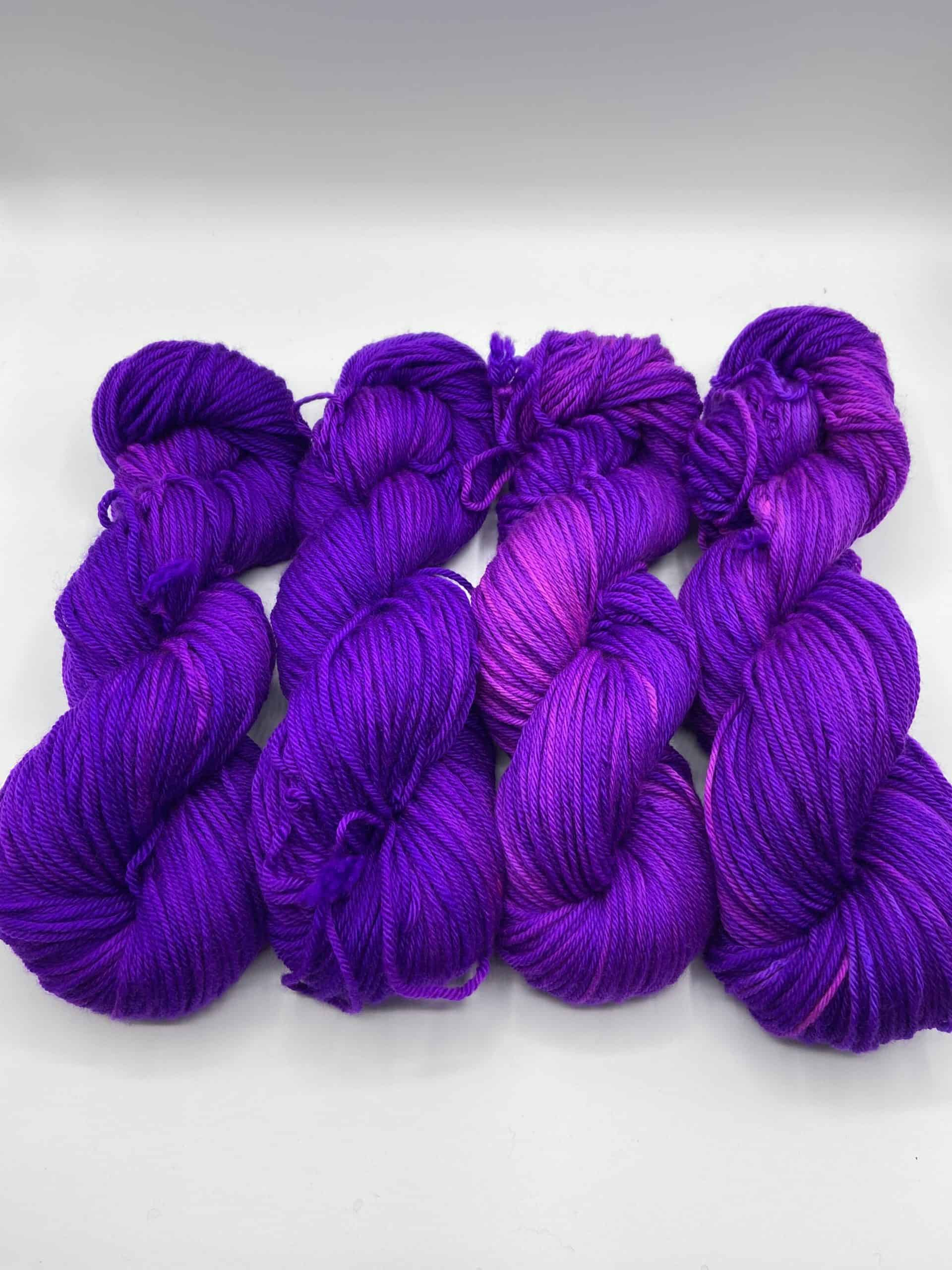 Bright purple yarn.