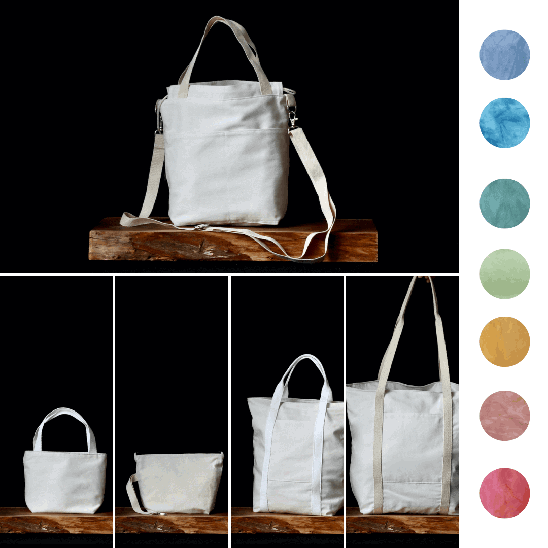 A collage of white bags and a color palette.