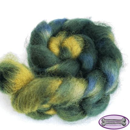 A braid of green and blue fiber.