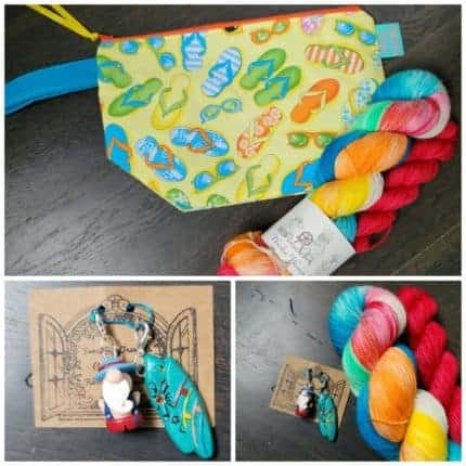 A collage of bright colored yarn and a zipper bag.