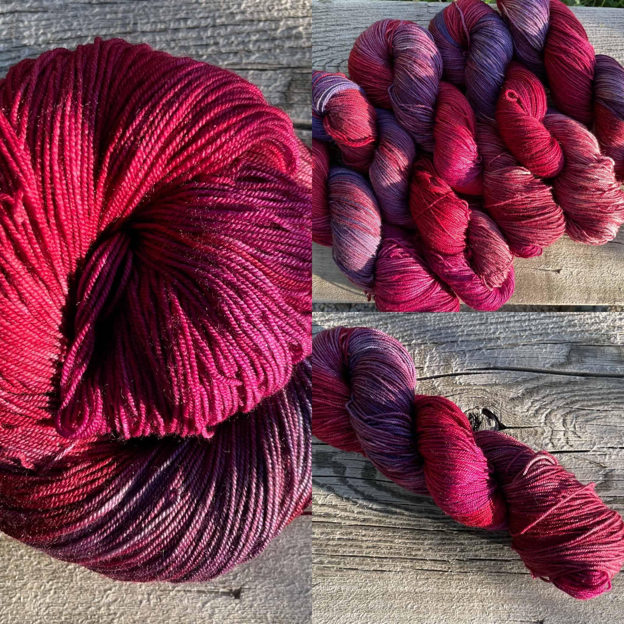 Pink and purple yarn.