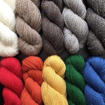 A rainbow of yarn skeins.