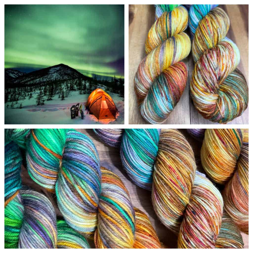 A collage of a tent under a green sky and green, gold, red and blue yarn.