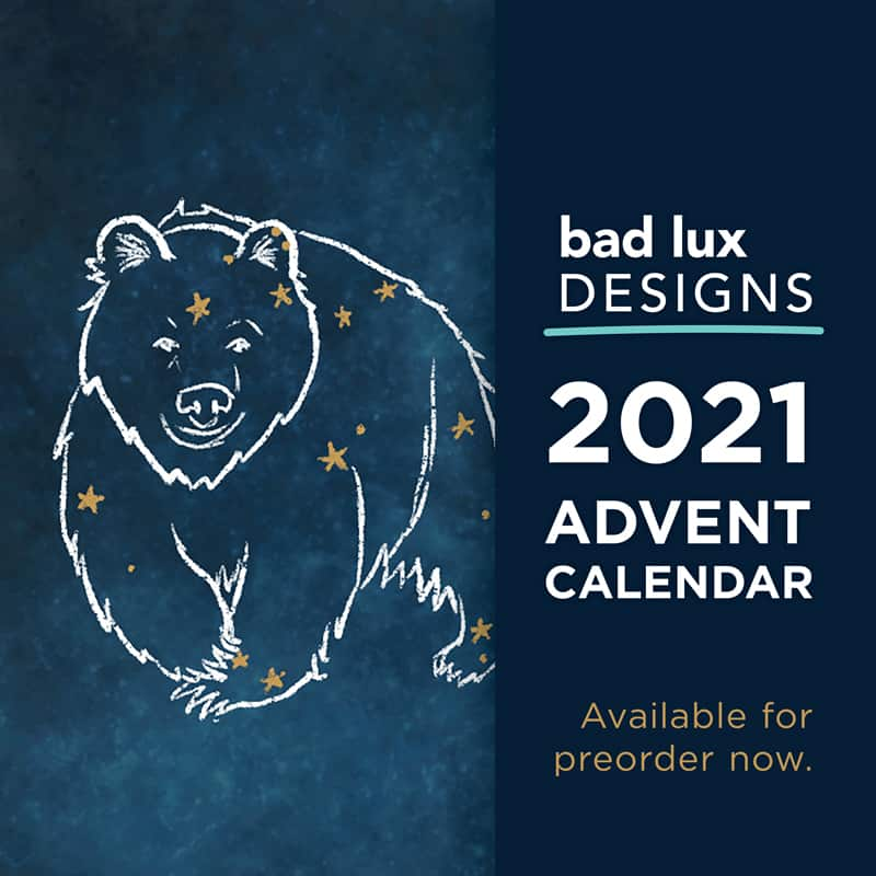 A bear constellation and the words Bad Lux Designs 2021 Advent Calendar