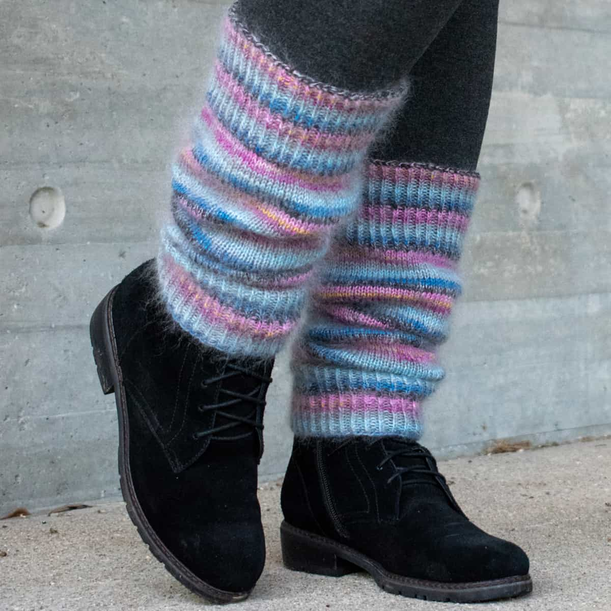 Pink and blue knit leg warmers.