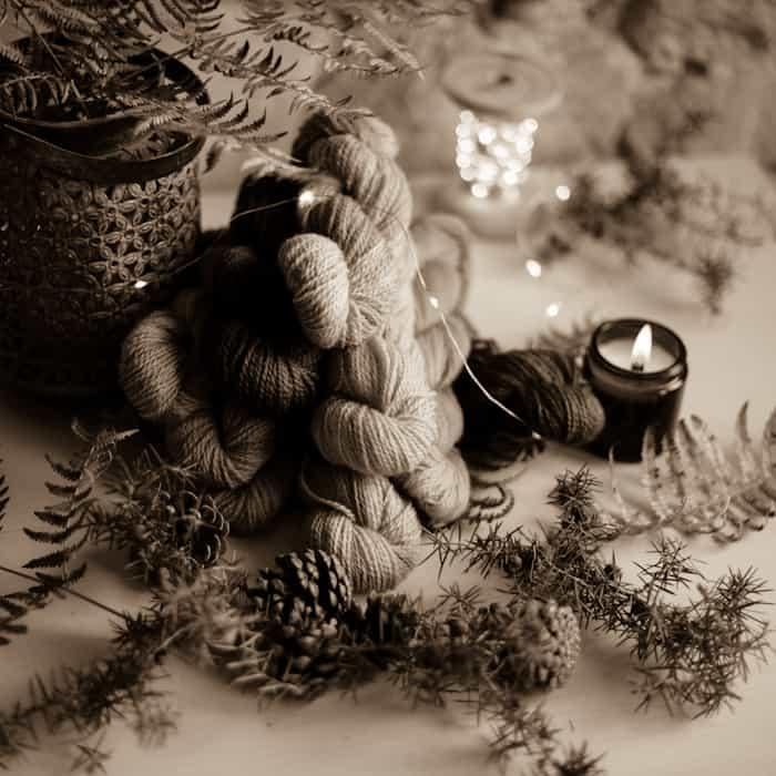 A sepia-toned photo of yarn.