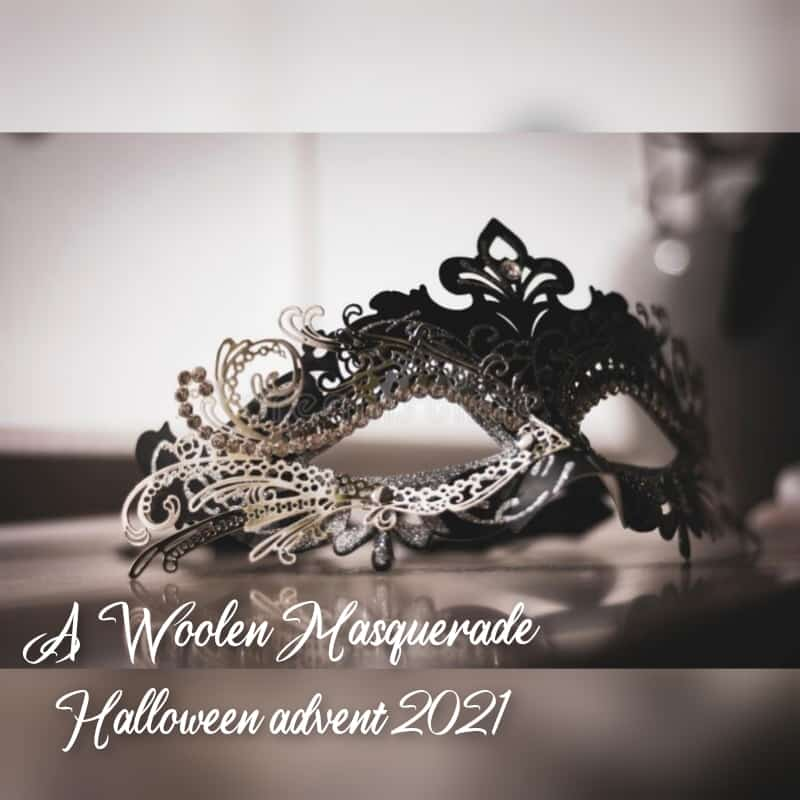 A black and white photo of a mask and the words A Woolen Masquerade Halloween Advent.