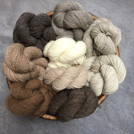 Twisted skeins of brown yarn in various shades.