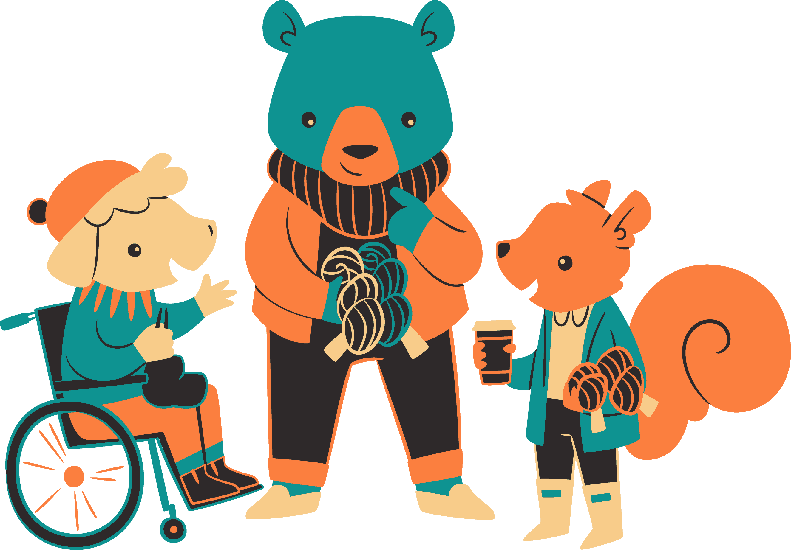 An illustration of a sheep in a wheelchair, a bear holding yarn and a squirrel.