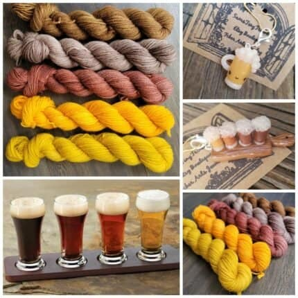 A collage with gold, red, gray and brown yarn and beer pint charms.