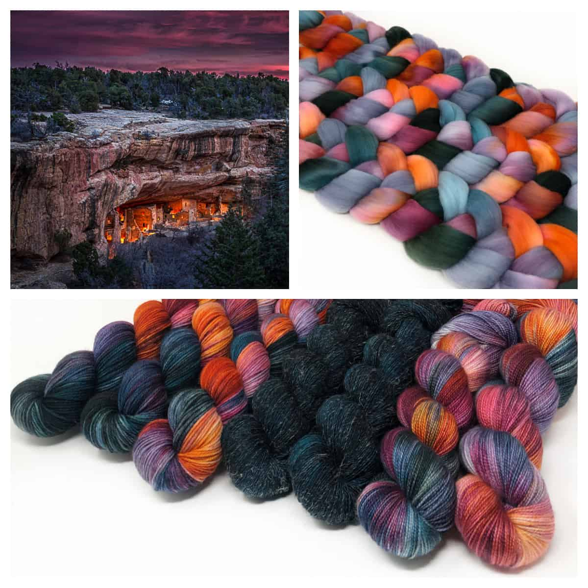 Lit caves under a purple sky and purple, orange and green yarn.