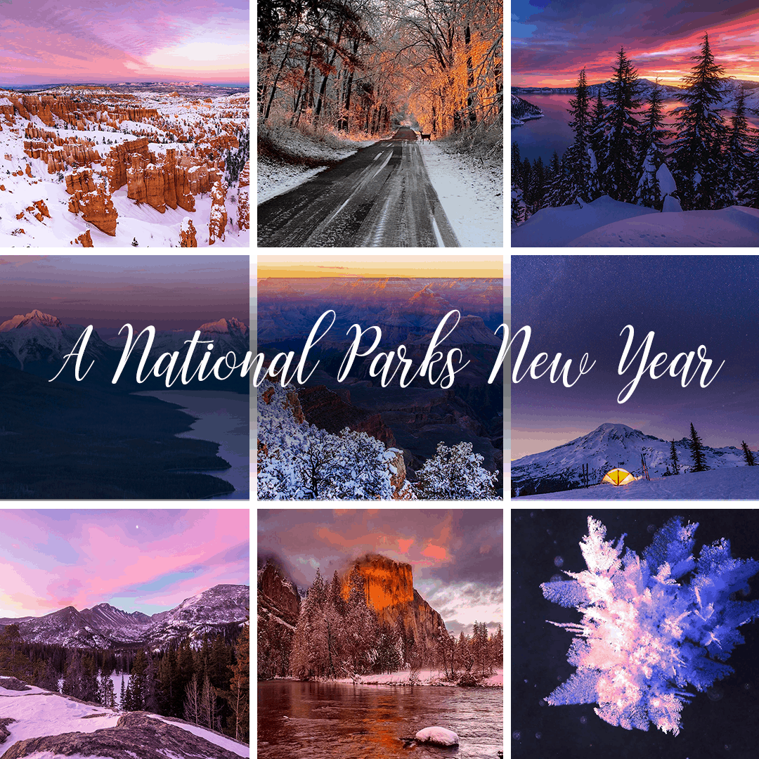 A collage of national parks photos with purple, blue and orange tones and the words A National Parks New Year