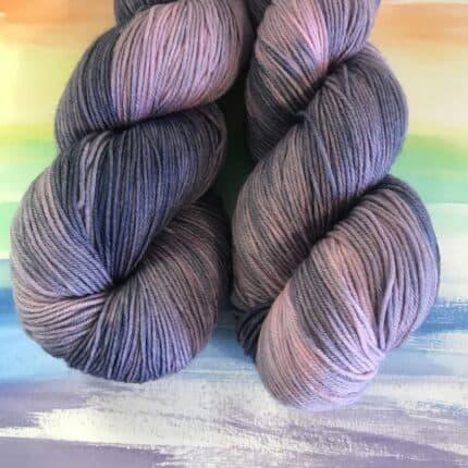 Skeins of purple yarn.