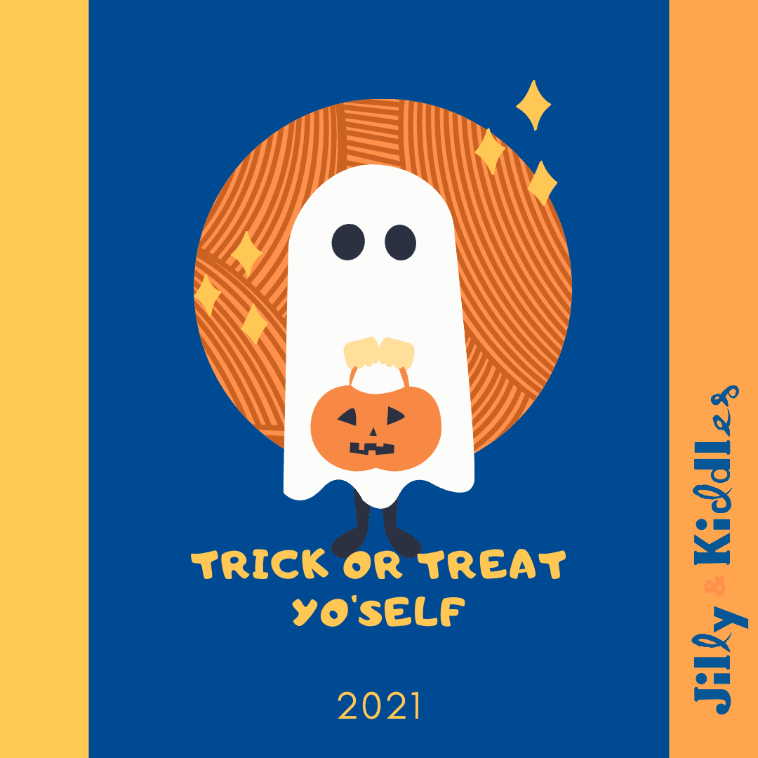 An illustration of a ghost holding a pumpkin basket in front of an orange ball of yarn and the words Trick Or Treat Yo'self 2021.