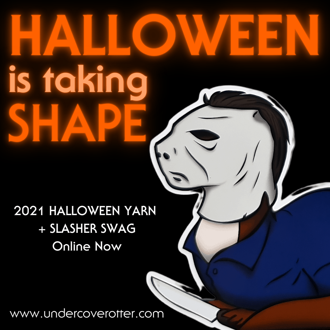 An illustration of an otter and the words Halloween is taking shape.