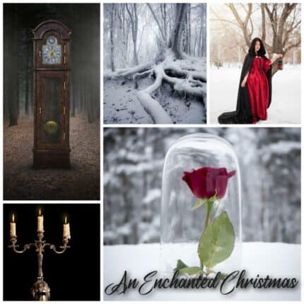 A collage of photos of a grandfather clock, candelabra, a snowy tree, a woman in a red cloak and a rose under a glass dome.