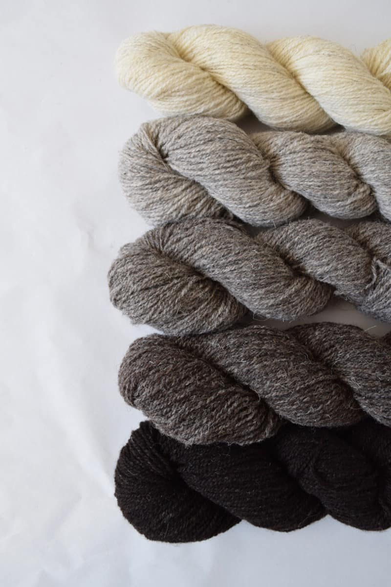 Skeins of black, gray and cream yarn.