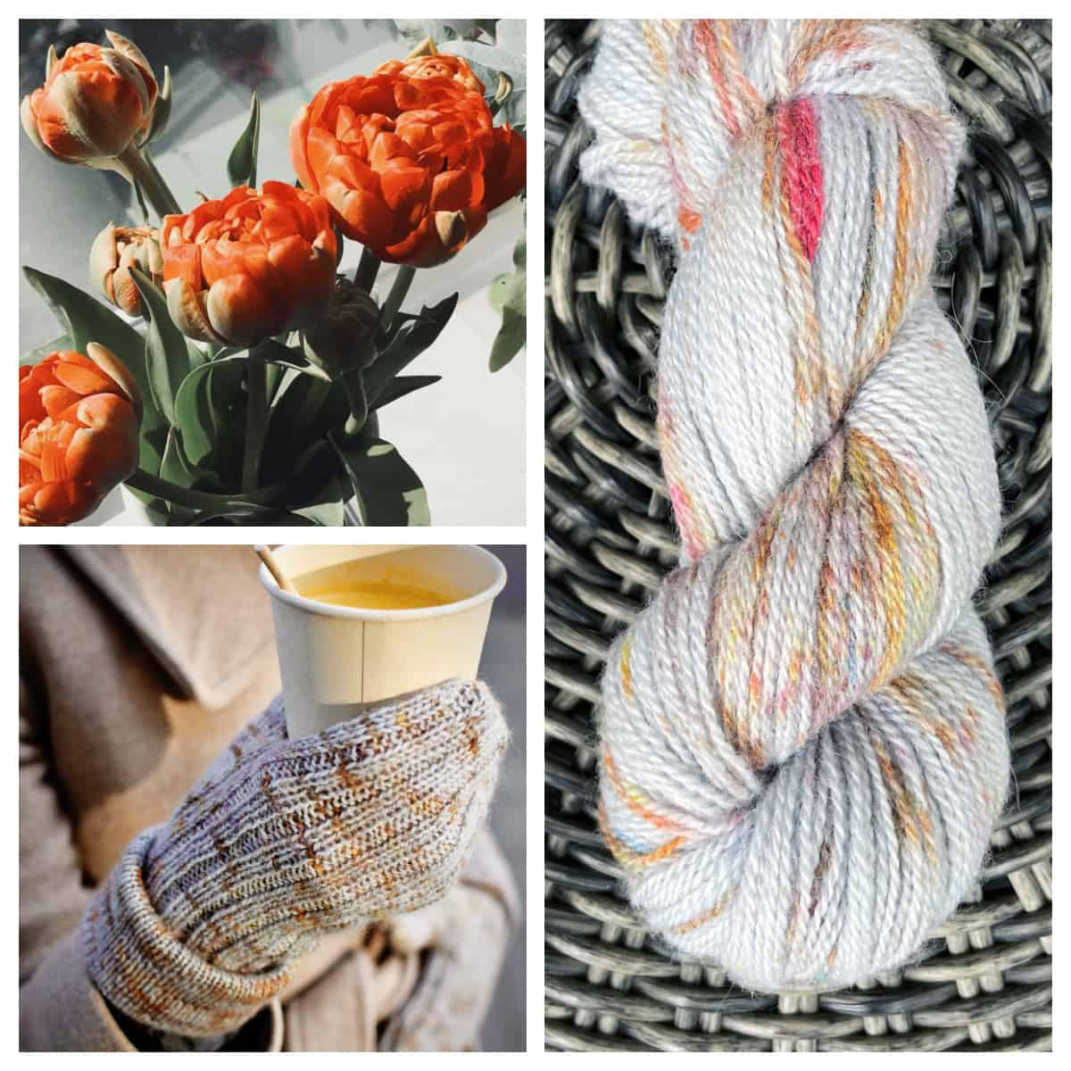 A collage of orange flowers, a hand wearing gray speckled mittens and a skein of gray yarn speckled with orange, pink and gold.