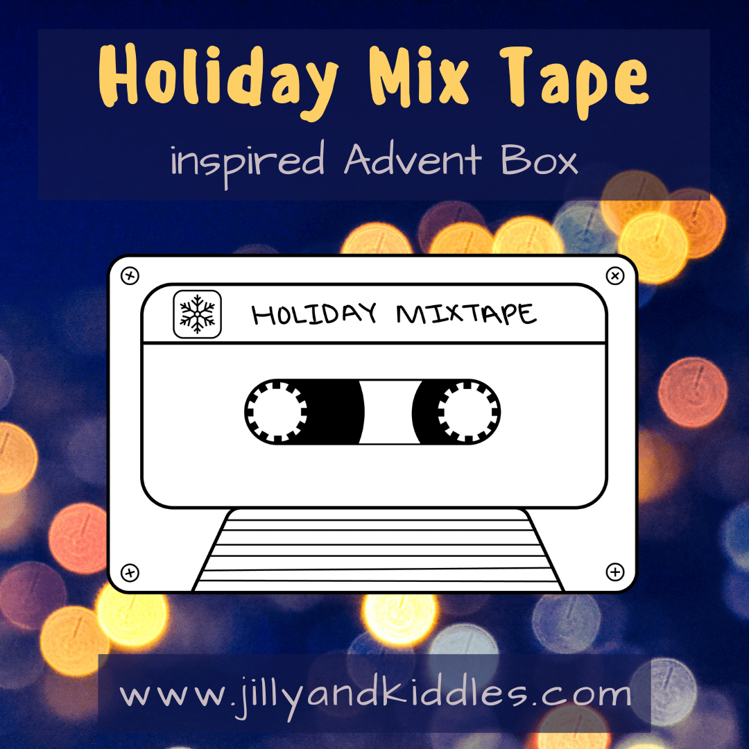 An illustration of a tape casette and the words Holiday Mix Tape inspired Advent box.