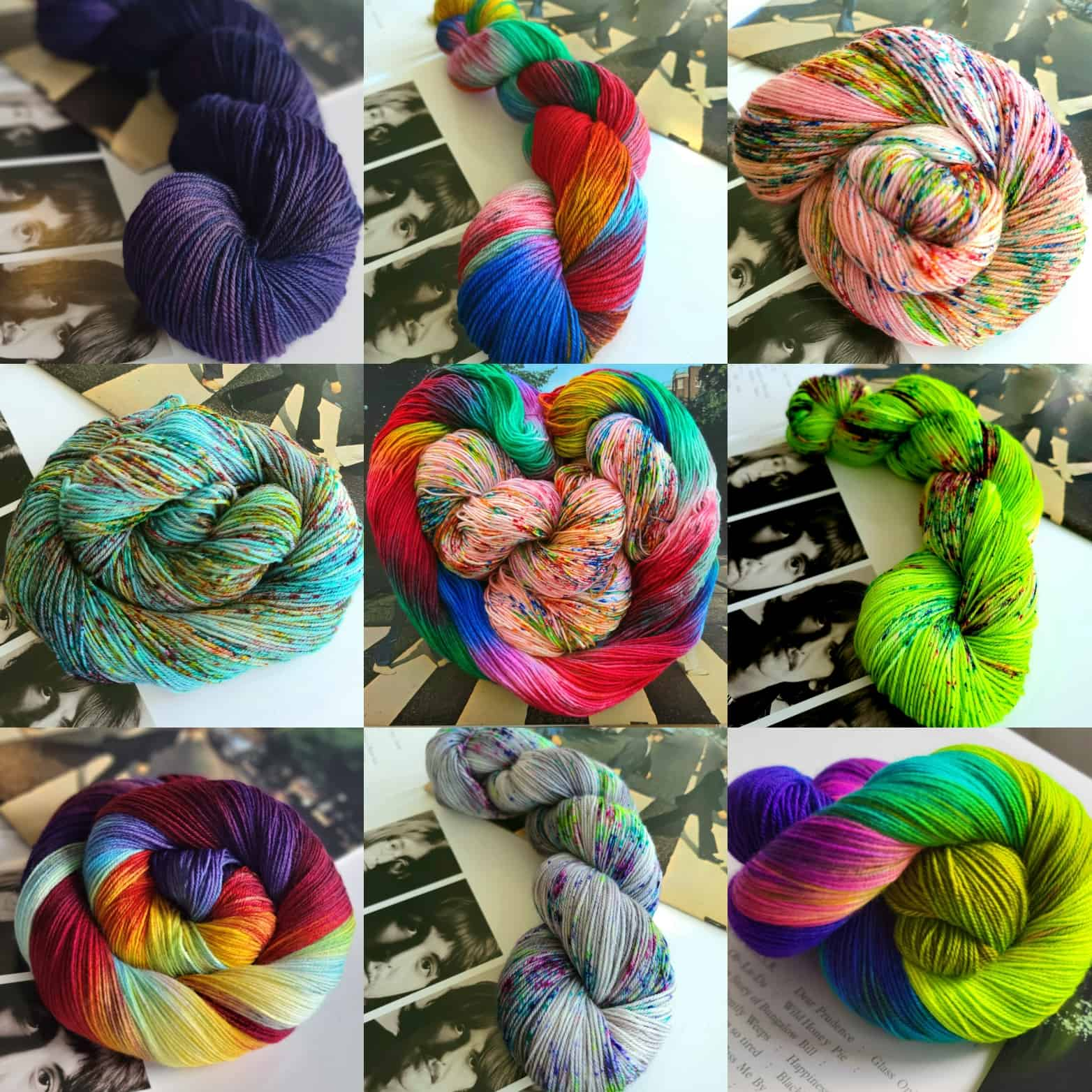 A collage of colorful yarn.