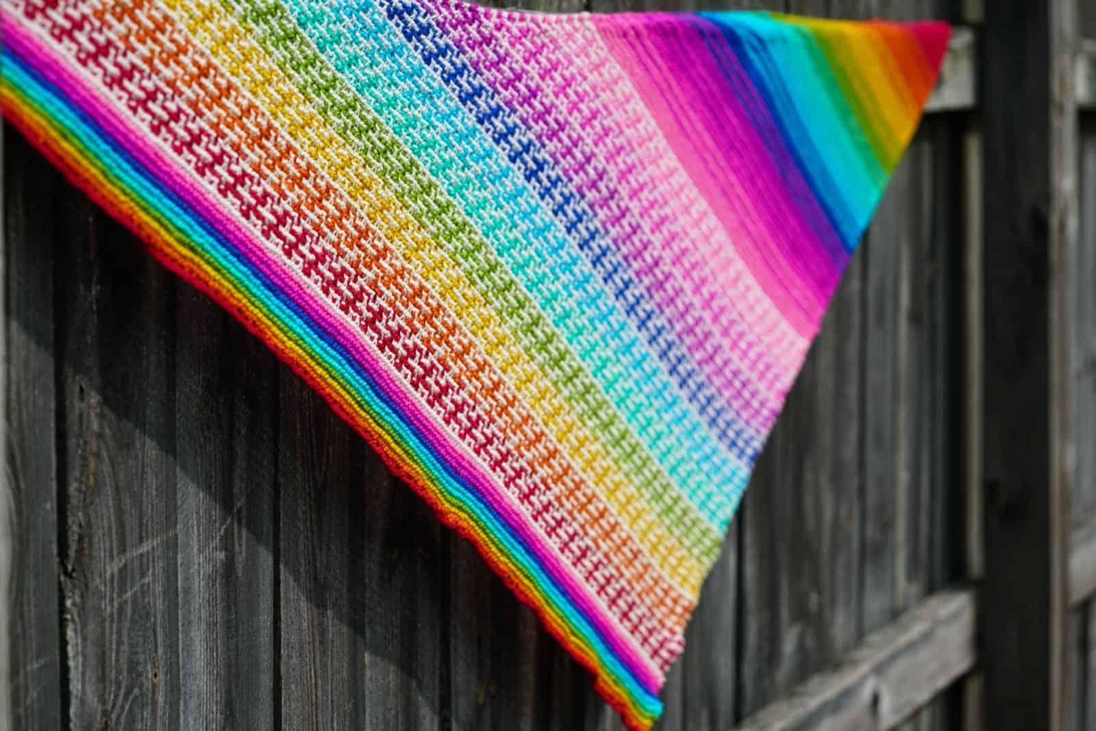 A rainbow striped shawl.
