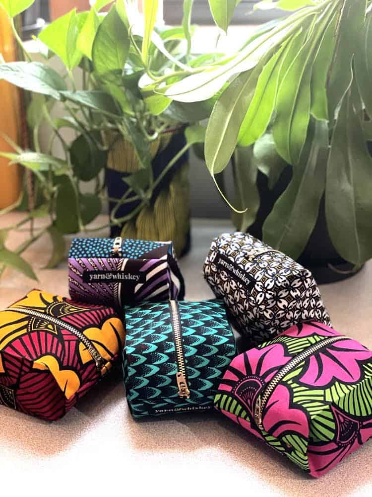 A collection of bright zipper box bags.
