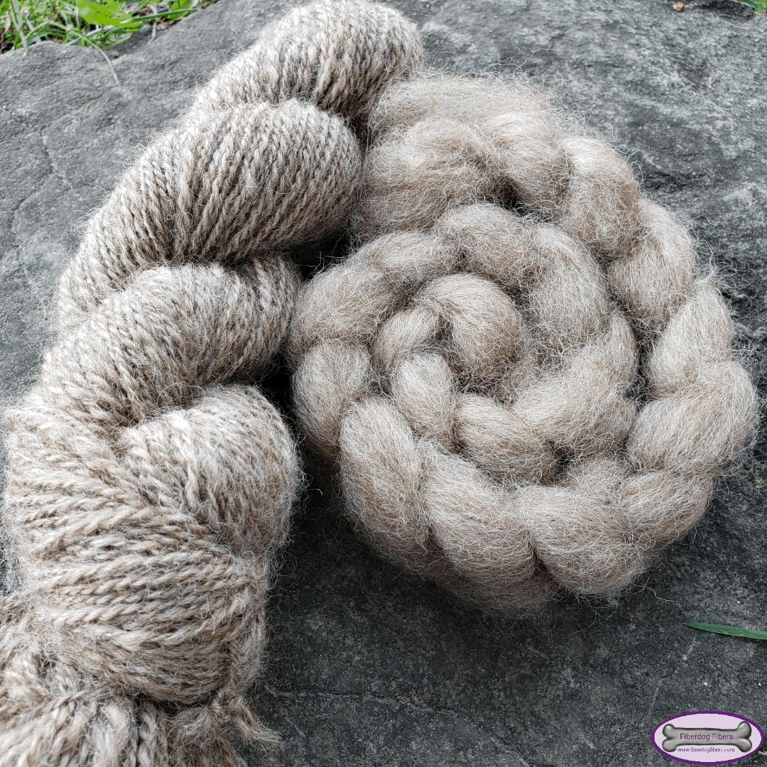 A skein of yarn and braid of fiber in golden beige.