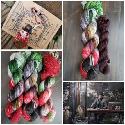 A collage with red,, black and green yarn.
