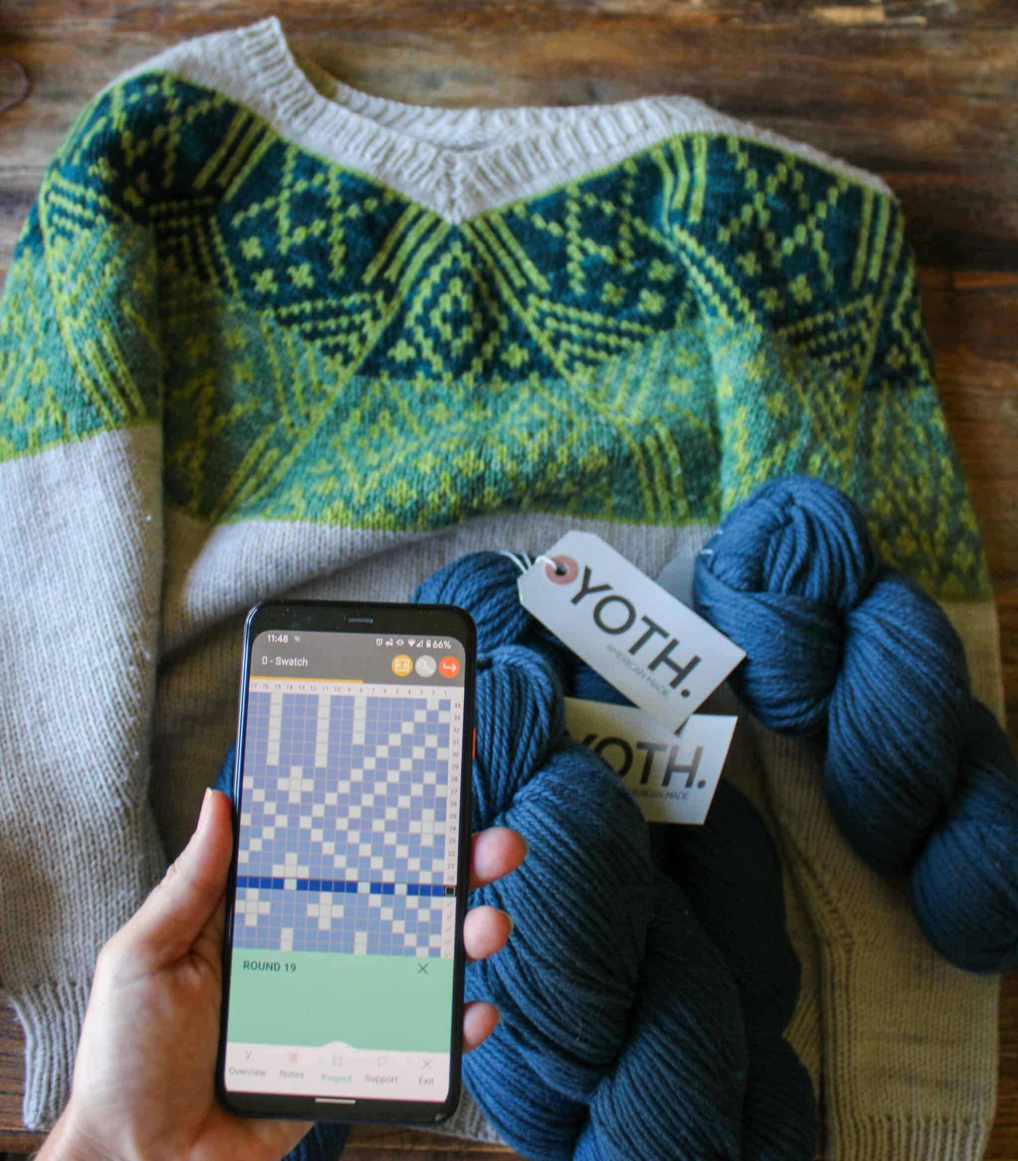 A colorwork sweater with a green yoke.